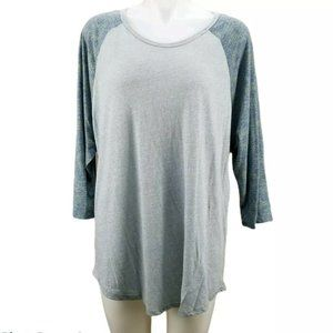 LuLaRoe Randy 3xl grey/ gray with blue sleeves